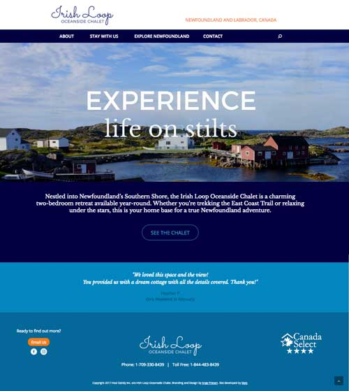 Irish Loop Oceanside Chalet Website Development